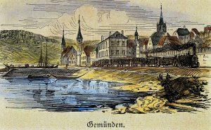 Eisenbahnerstadt Gemünden mit Dampflokomotive